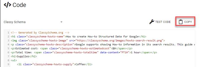 Copy Classy Schema HTML