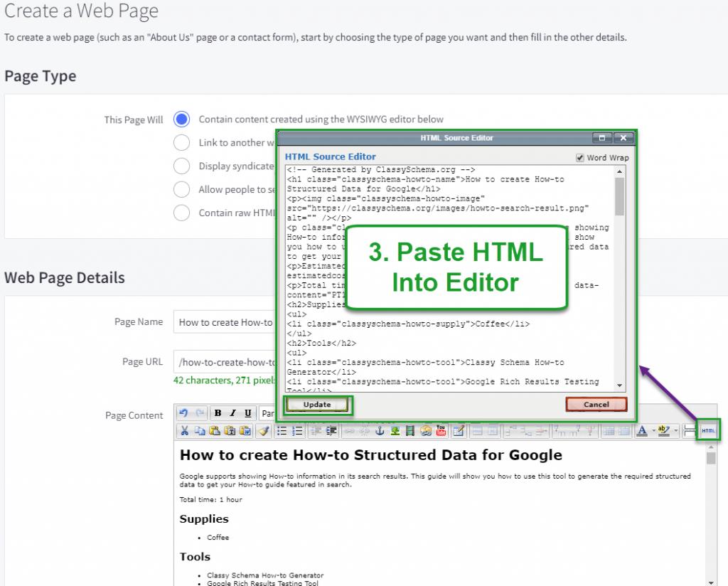 Paste HTML into Editor