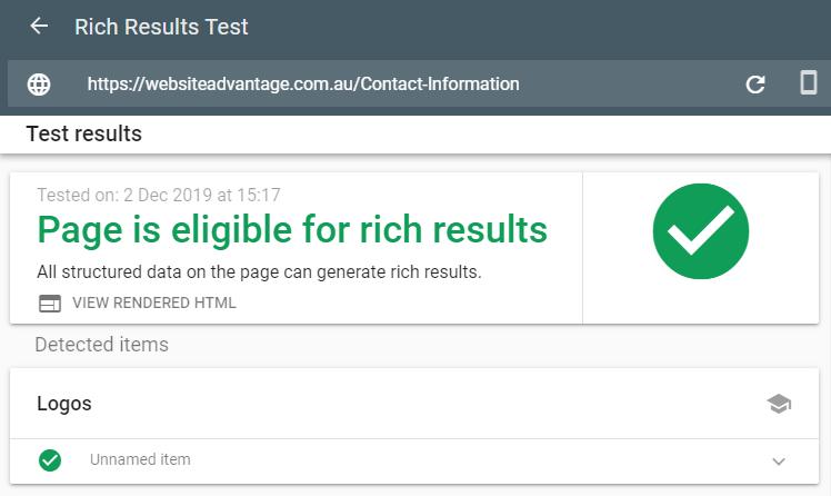 Rich Result Test Tool - Logo/Organization
