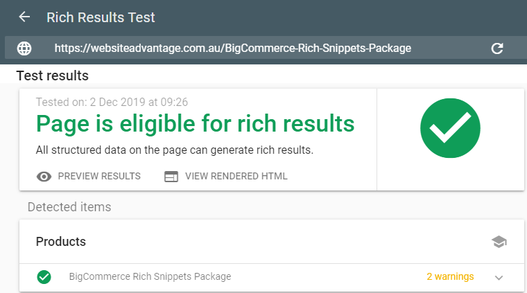 Rich Result Test Tool