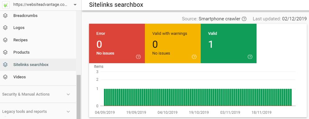 GSC Sitelinks Searchbox enhancement report