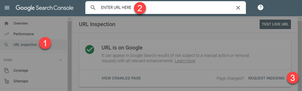 Request Indexing via URL Inspection