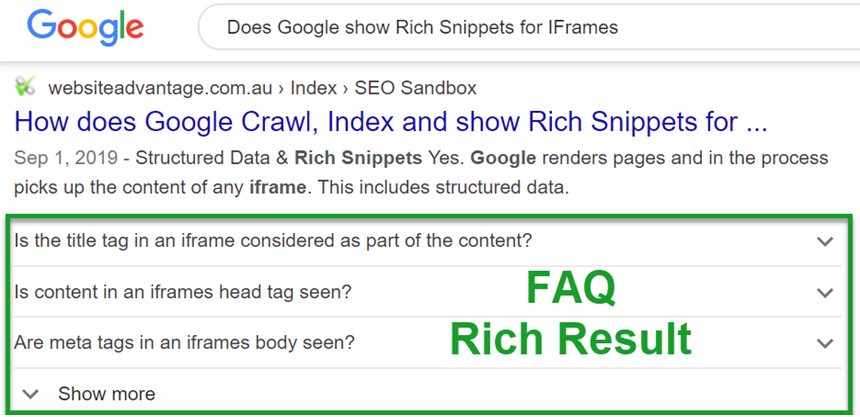 FAQ Rich Result Example for SEO Rich Snippets App