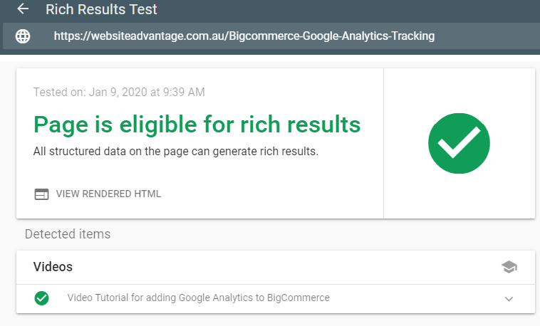 Video Rich Results Test Tool