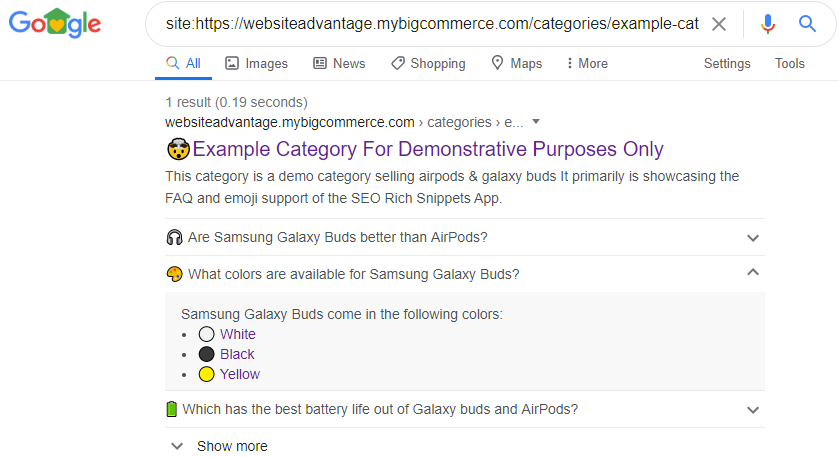 Emojis in Search Results