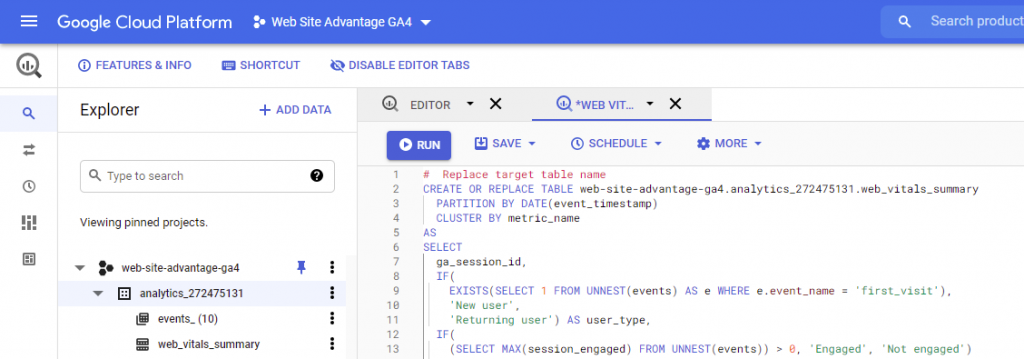 BigQuery Materialised Table