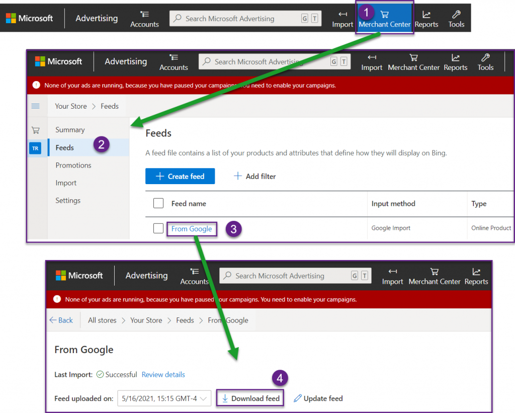 Accessing the Microsoft Merchant Center Feed