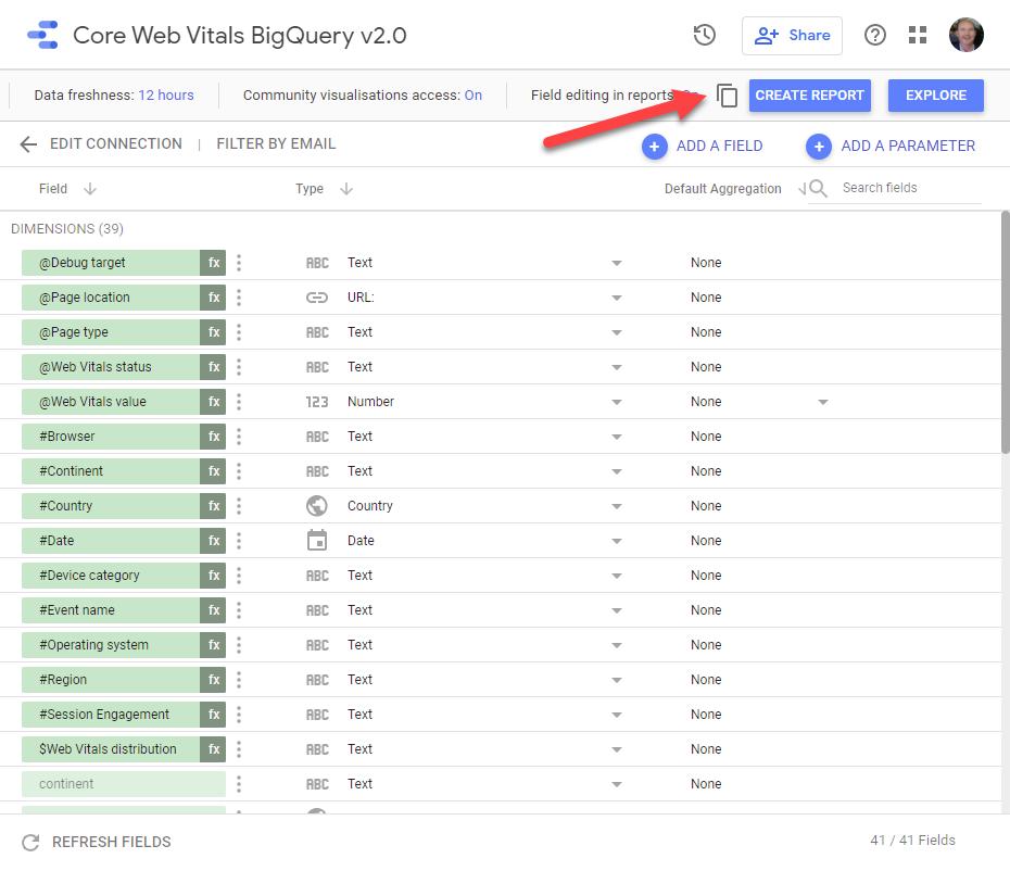 Core Web Vitals BigQuery Data Studio Data Source