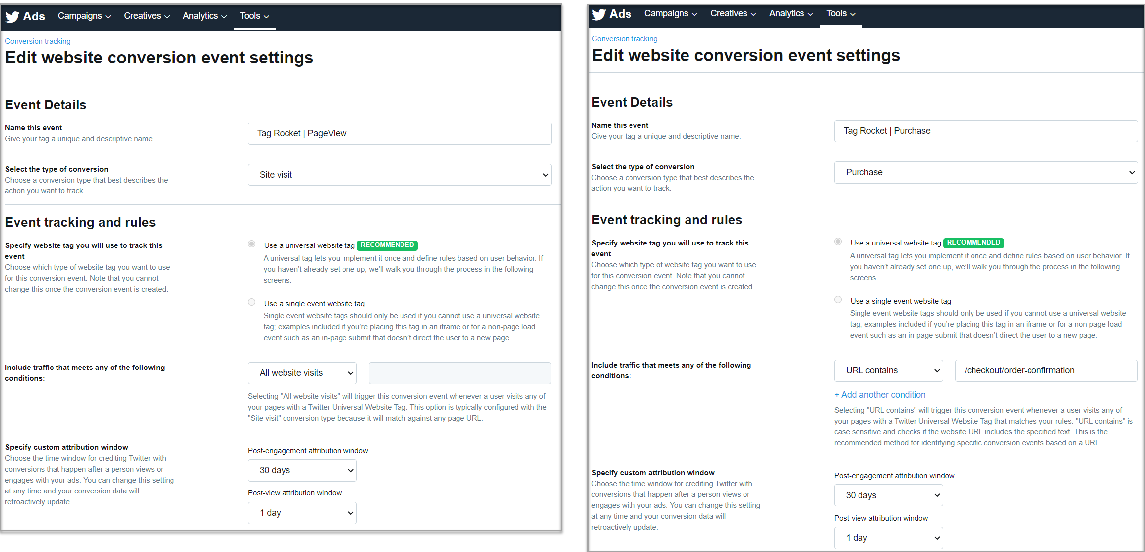 Purchase and Site Visit Conversion Event Setup For Twitter
