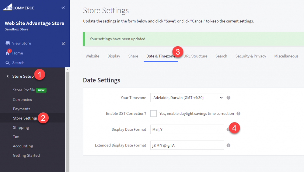 BigCommerce Display Date Format setting
